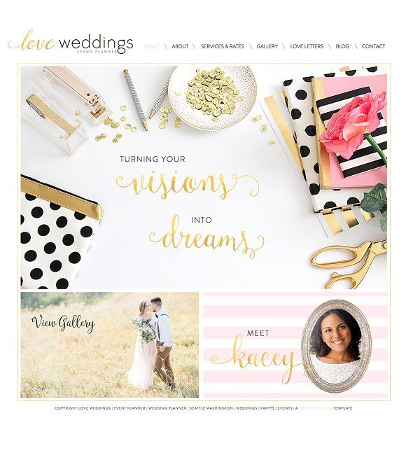 Wix Wedding Planner Website Template By Sunny Blossom Designs On Creativemarket