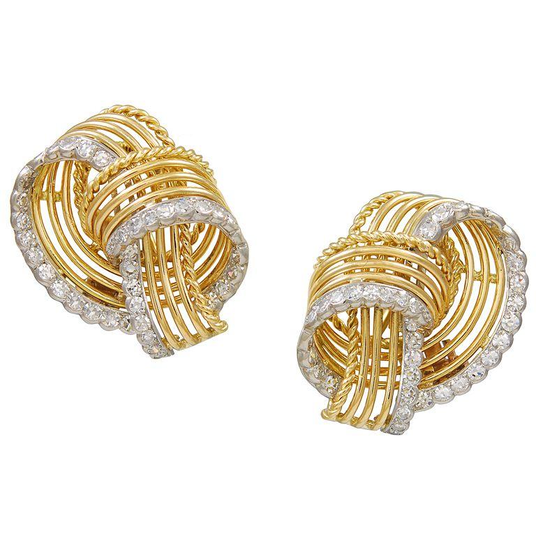 a33a76da2 CARTIER Paris Gold Diamond Ear Clips   From a unique collection of vintage  clip-on