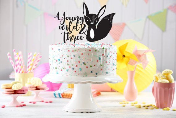 Custom Young Wild And Three Cake Topper Kids Birthday 3rd Third Bir