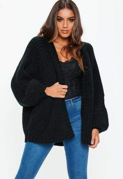 dba56d29e02f81 Missguided Black Oversized Longline Knit Cardigan