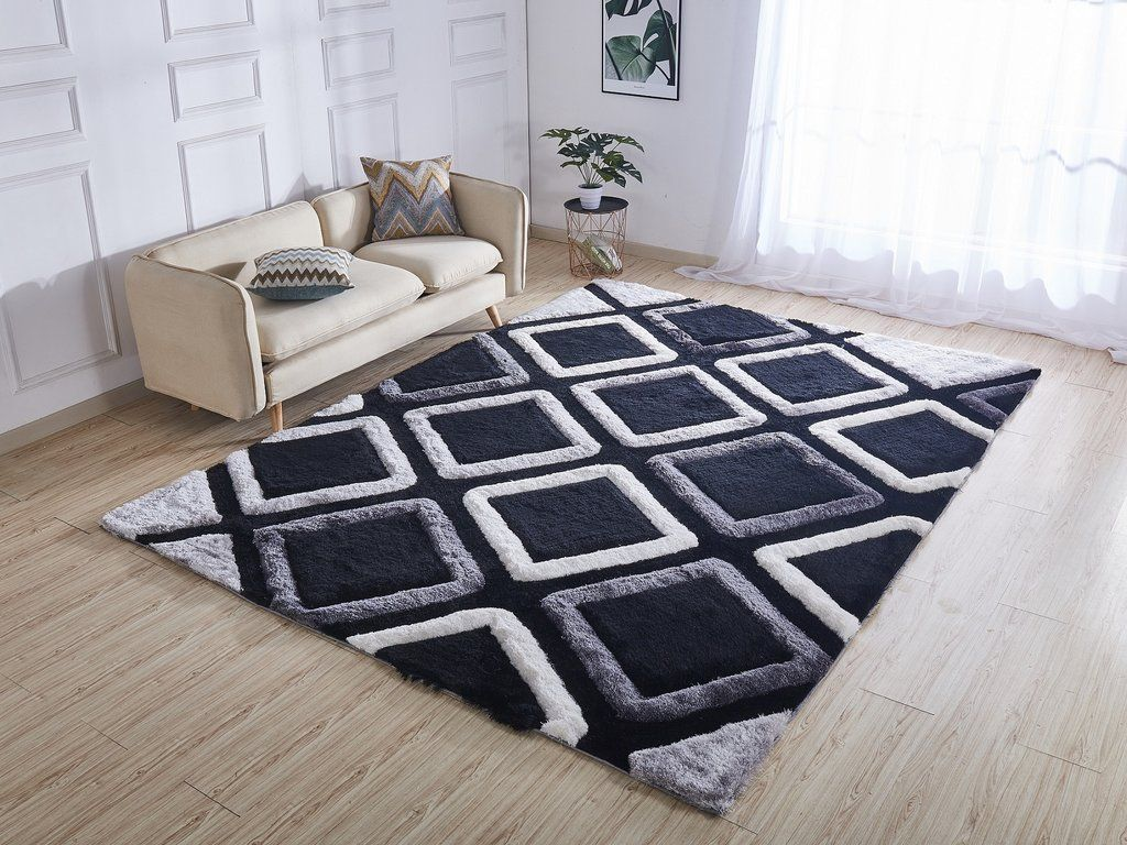 Black Contemporary 5x7 Rug In 2019 Contemporary 5x7 Rug Grey