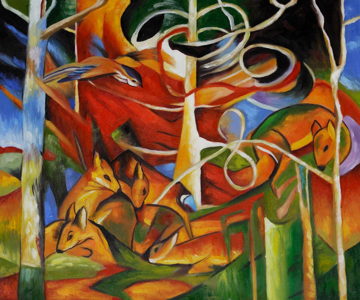 Deer In The Forest Franz Marc Painting Reproduction