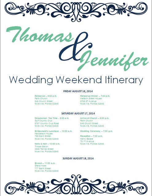 Navy Wedding Weekend Itinerary Template Download template on