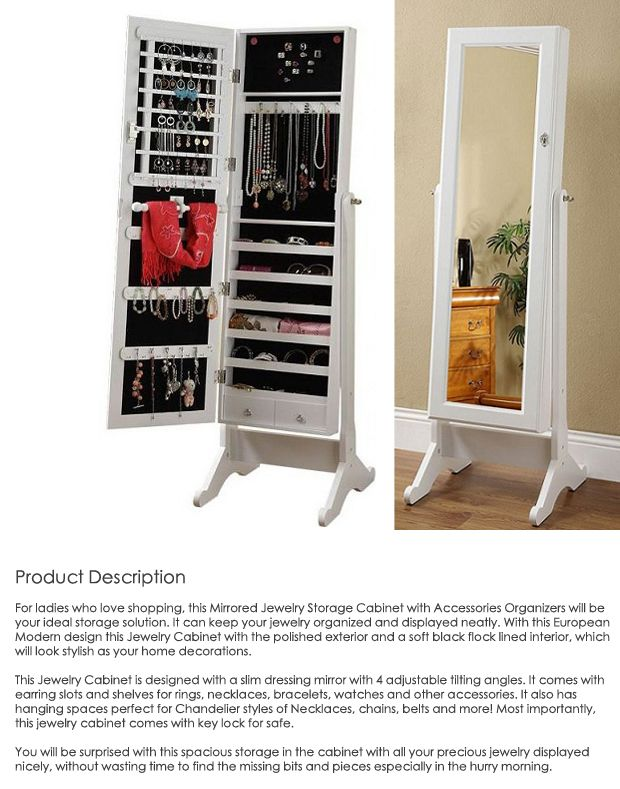 High Quality Wooden Mirrored Jewelry Cabinet With Free