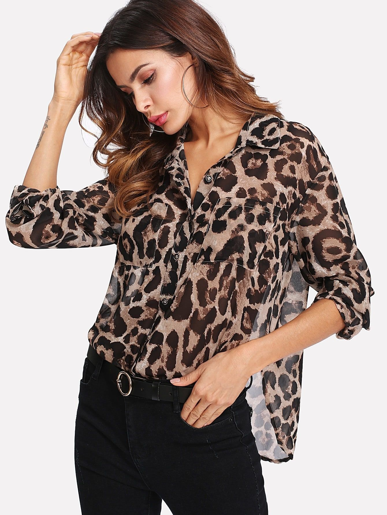 Curved Hem Leopard Semi Sheer Utility Shirt Trendy Outfits Leopard Print Shirt Printed Chiffon Blouse Print Chiffon [ 1785 x 1340 Pixel ]