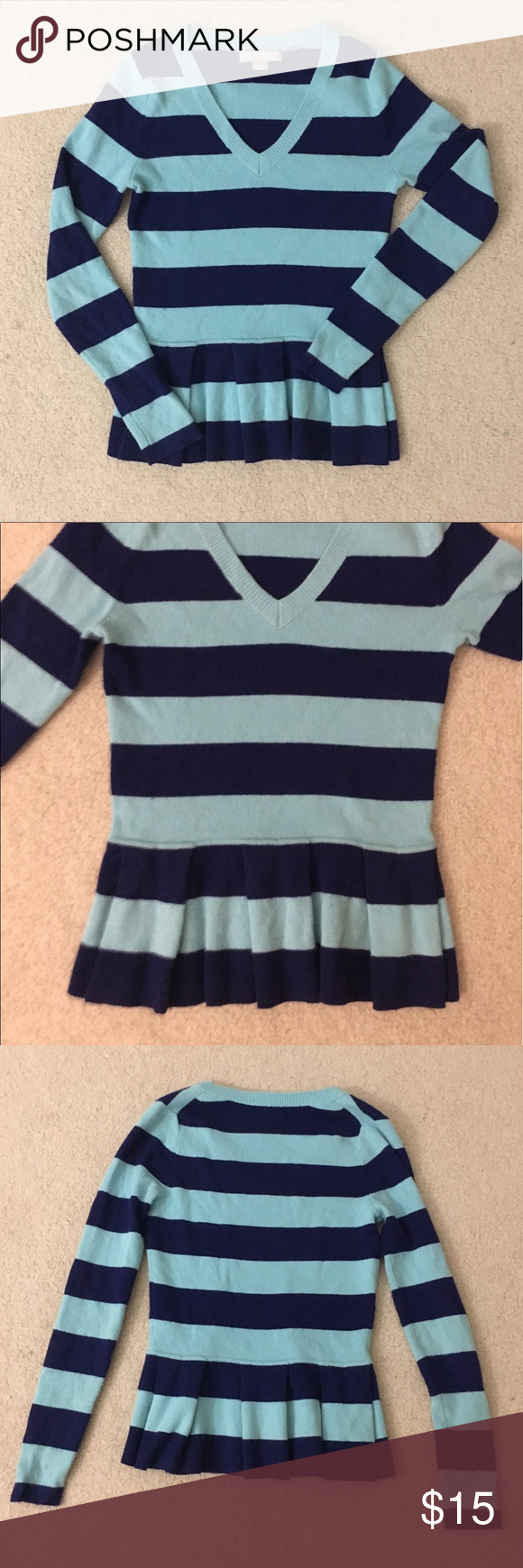 Banana Republic Peplum Blue Striped Sweater | More Peplum sweater ...