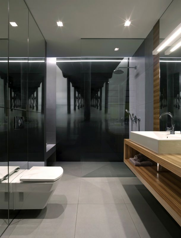 Elegancka Czarna Fototapeta Z Perspektywą Pod Prysznicem Dodaje