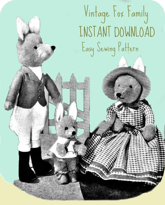 Vintage toy pattern / Fox Family / instant download / pdf/ sewing ...