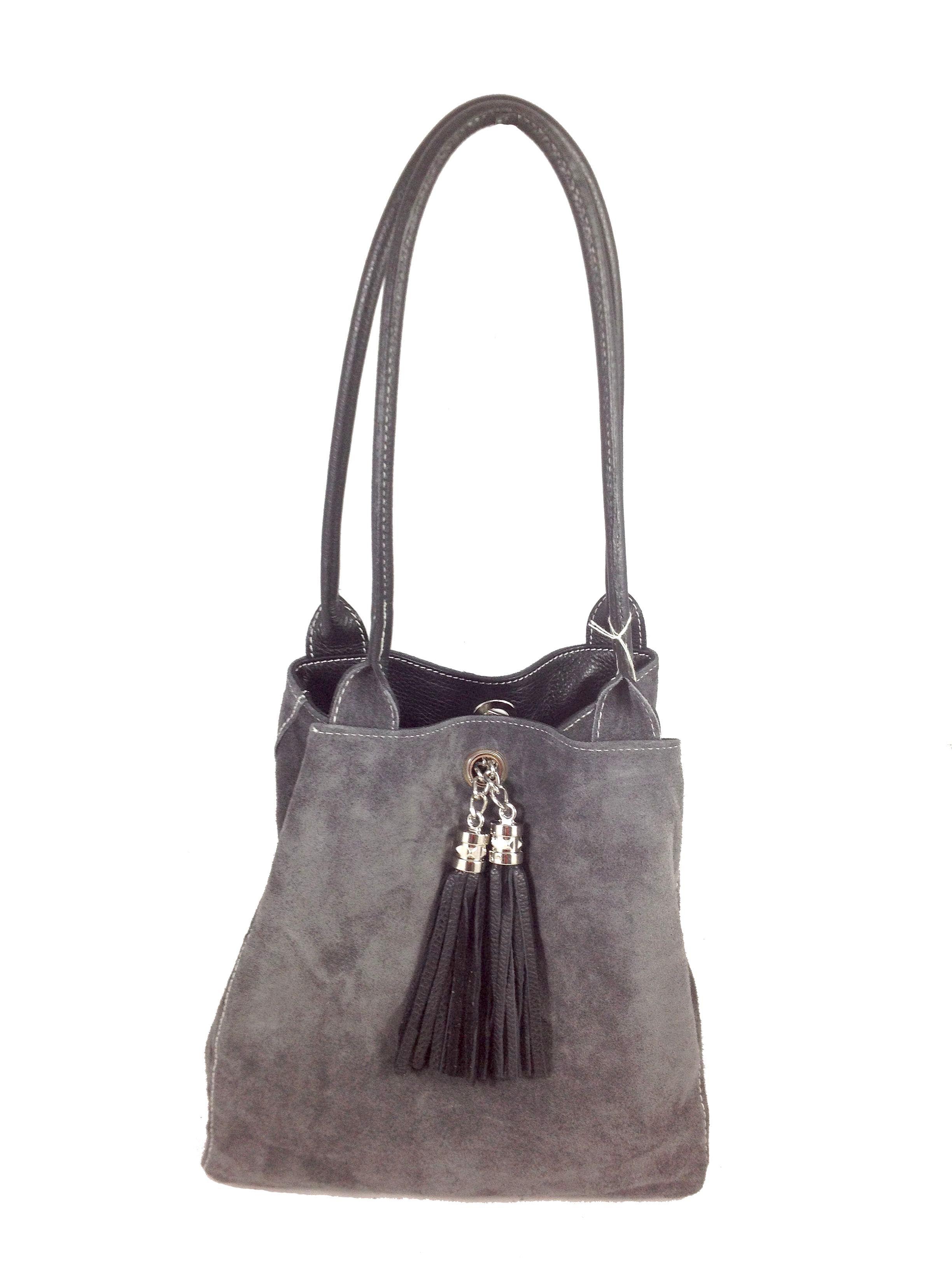Lyn Reversible Italian Leather Handbag Black Grey Suede Reversed