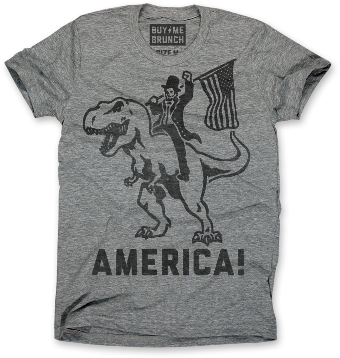 594ae8a2afc37 Abraham Lincoln on a T-Rex Men s Tee Grey – Buy Me Brunch