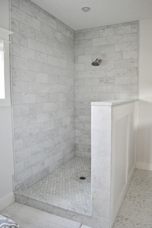 Gray And White Carrara Marble Master Bathroom Modern Farmhouse Carrara Marble Bathroom Marble Bathroom Floor Farmhouse Master Bathroom