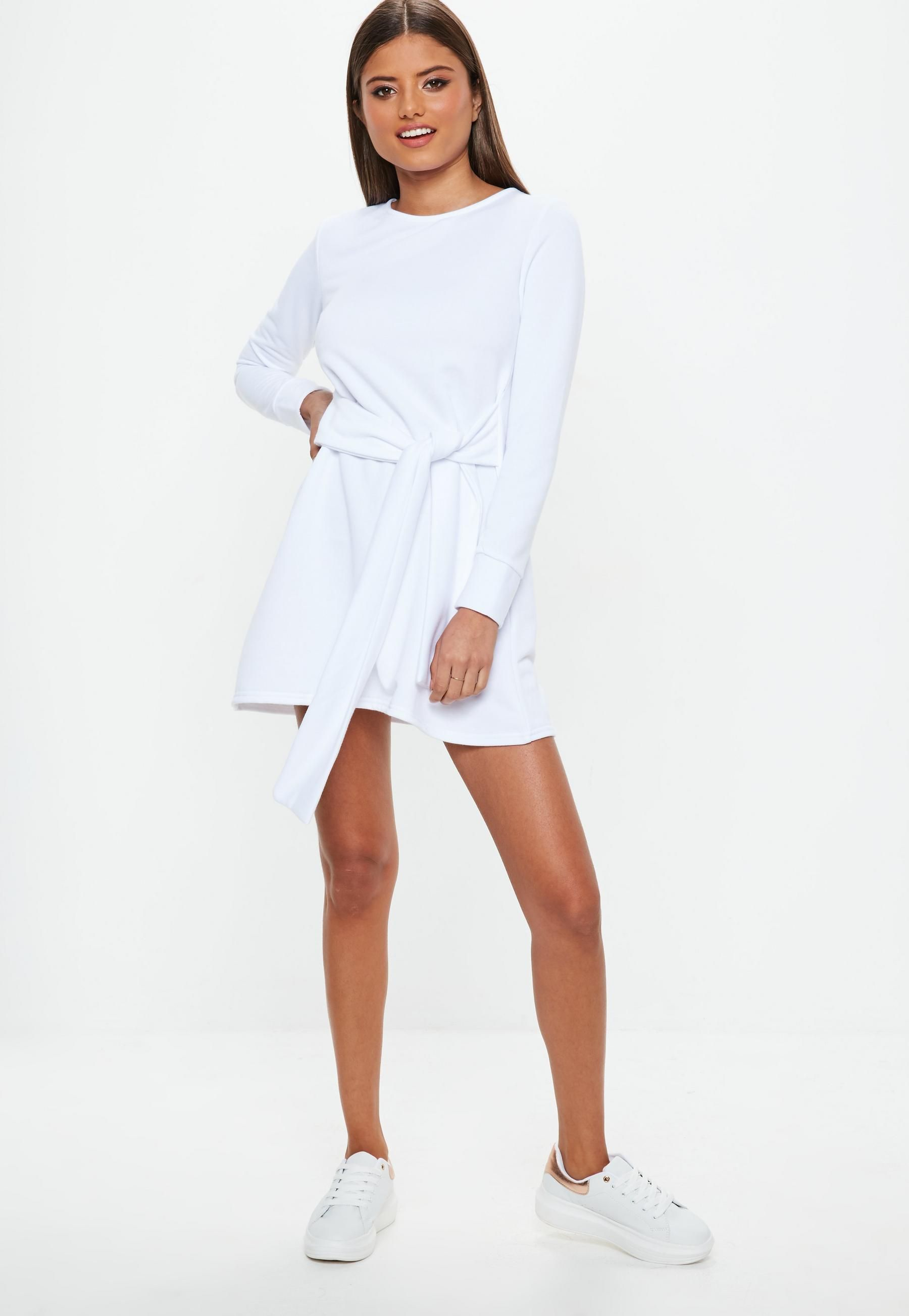 53769b1b10b White Tie Waist Sweatshirt Dress