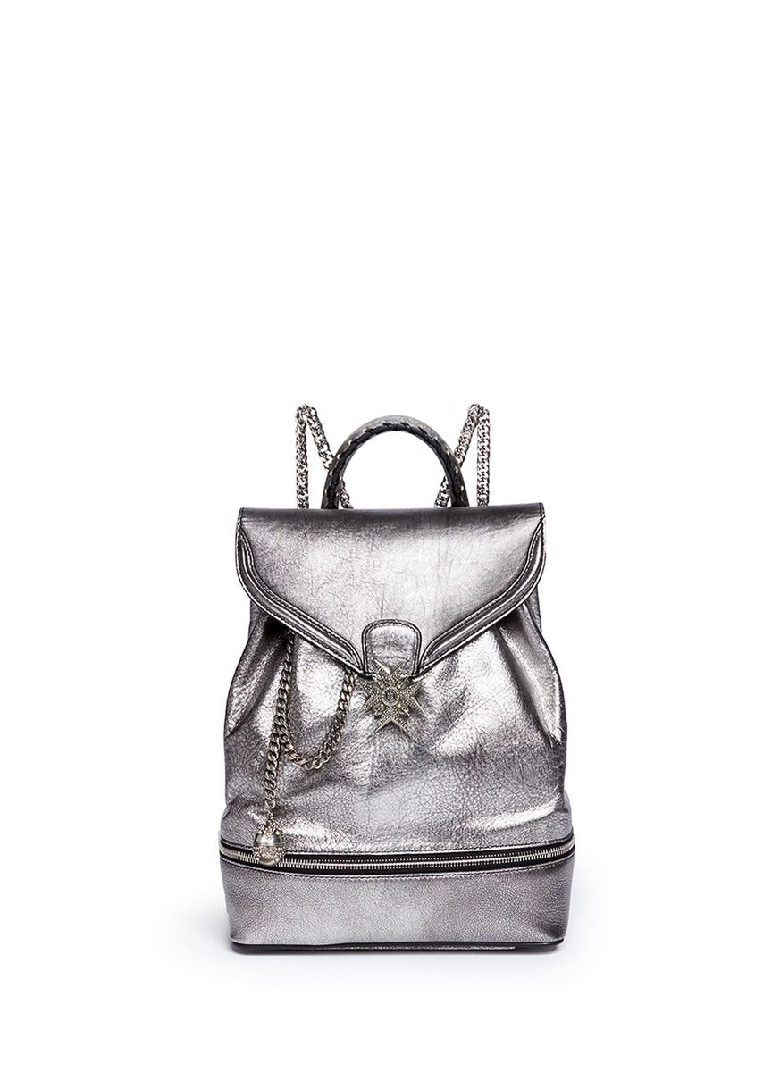 ALEXANDER MCQUEEN Small Charm Chain Metallic Pebbled Leather Backpack. #alexandermcqueen #bags #canvas #leather #lining #metallic #crystal #backpacks #