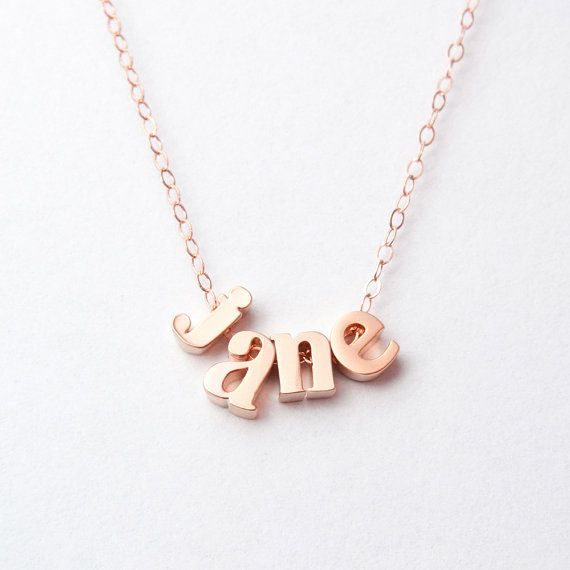 Solid 14k Rose Gold Name Necklace Personalized Lowercase Etsy Initial Necklace Gold Initial Necklace Gold Name Necklace