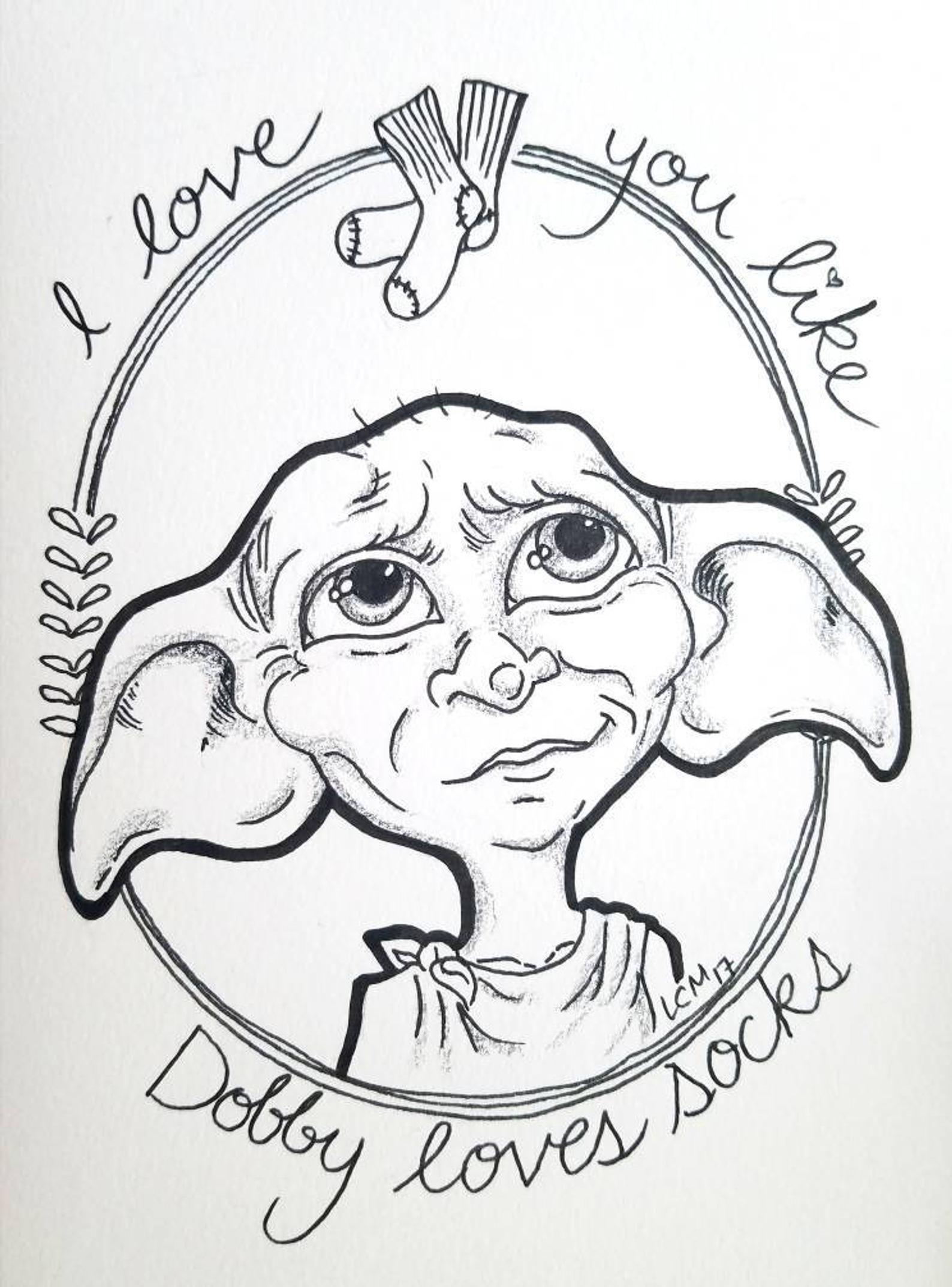 Harry Potter Fan Art Illustration Print Dobby the house elf Black