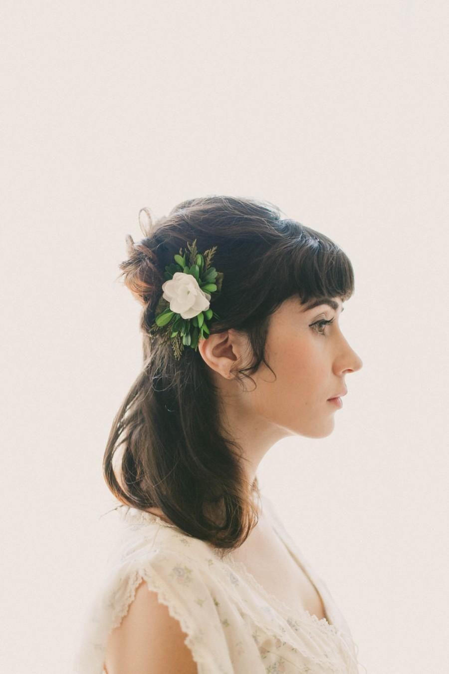 woodland bridal clip, natural foliage, rustic wedding hair clip