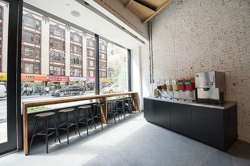 I Want To Have A Long Plank Table With Bar Stool Seating By The Front Window