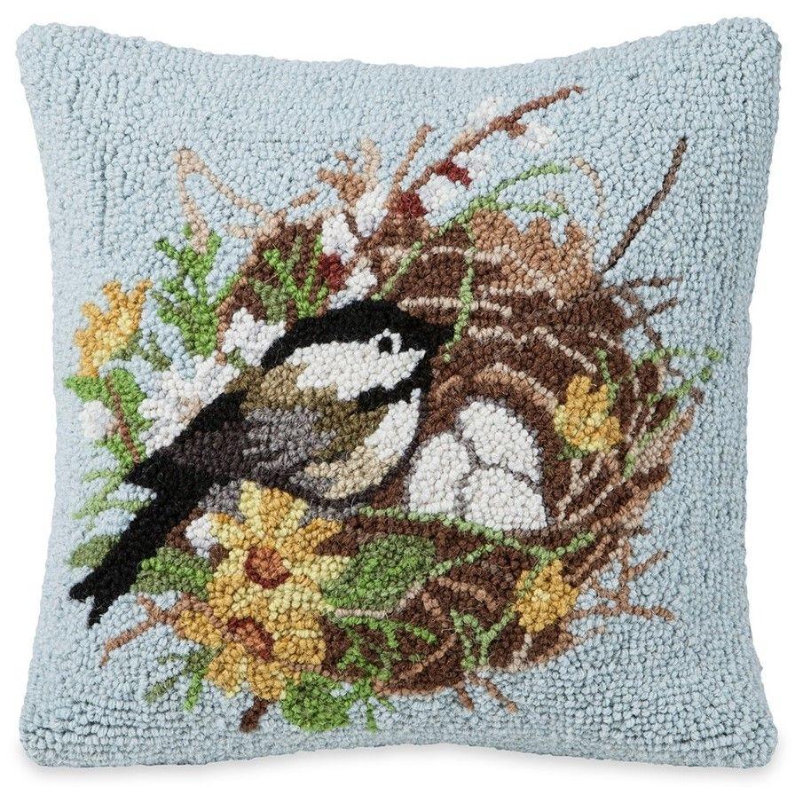 chickadee nest pillow hand hooked