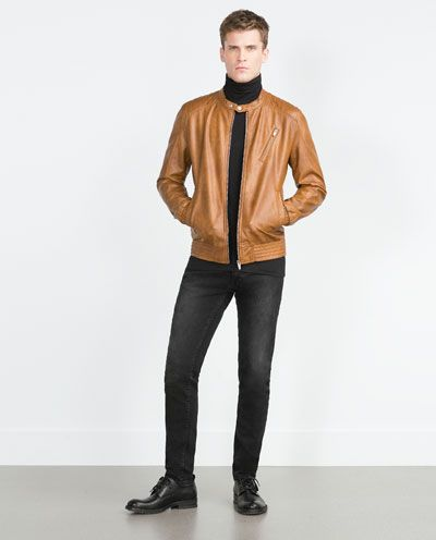 6e88f6f8 Image 1 of TAN FAUX LEATHER JACKET from Zara | Fashion and Style ...