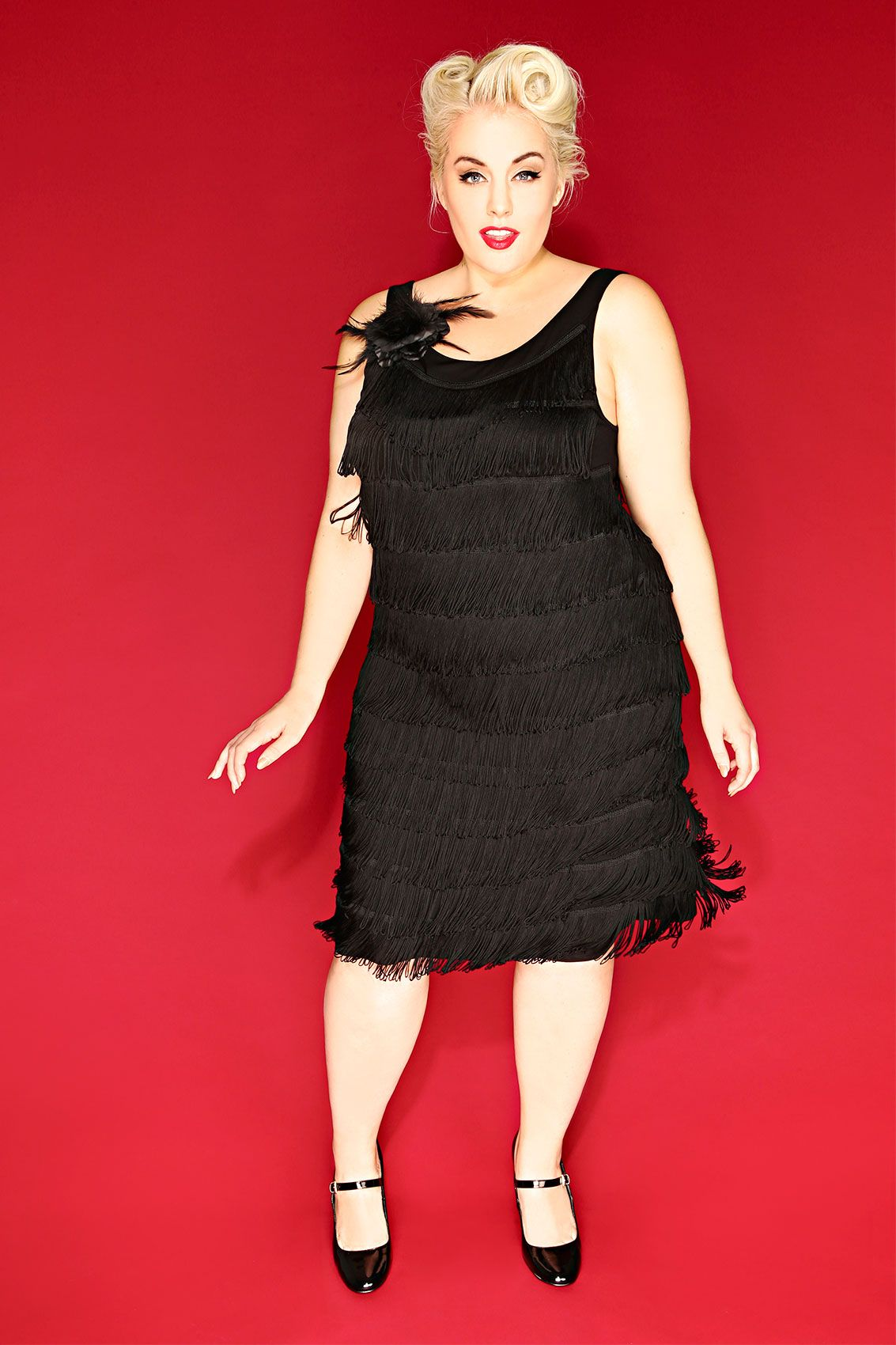 HELL BUNNY Black Fringed Flapper Style Dress With Flower Clip ...