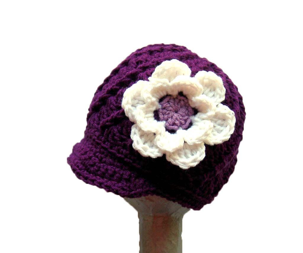 Crochet girls newsboy hat, Crochet baby hat, toddler hat with flower ...