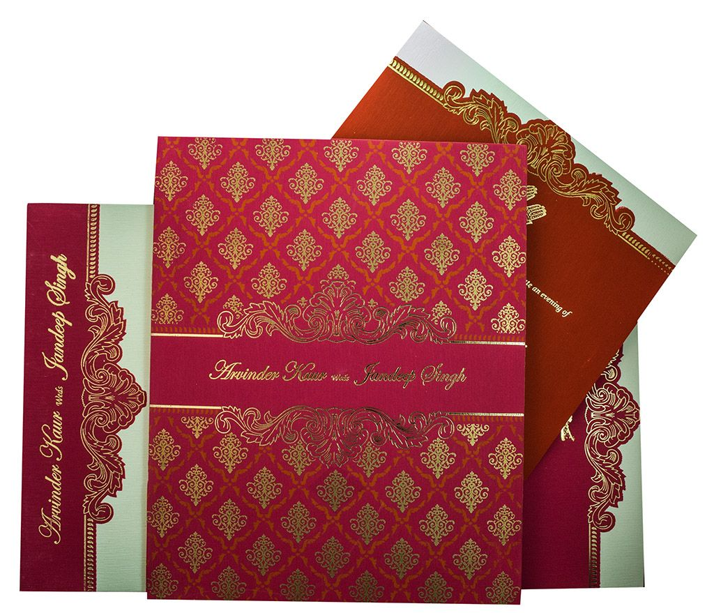 Indian Wedding Invite in Pink with motifs in Golden in 2018 ...