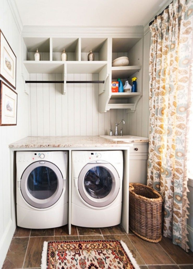 Ideas Beautiful Window Curtain And Small Rug Mixed With Corner Laundry Room Sink Compact Laundry Sink Laundry Room Design Tiny Laundry Rooms Small Laundry Room