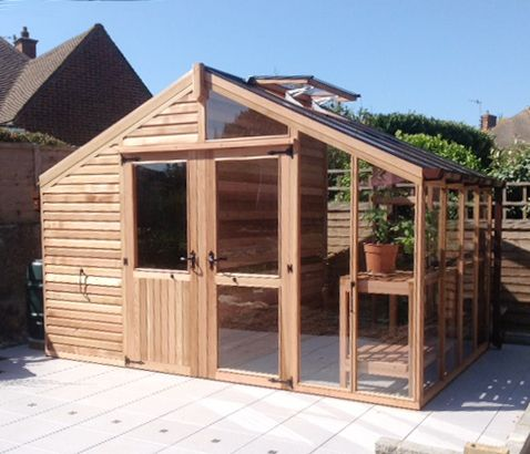Centaur Shed Combo Greenhouse With Shingle Roof Garden 640 x 480