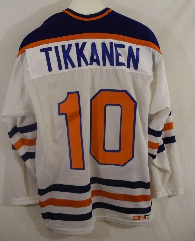 official photos 9fea4 49c8e Vtg Esa Tikkanen 10 Hockey Jersey Edmonton Oilers Sewn CCM ...