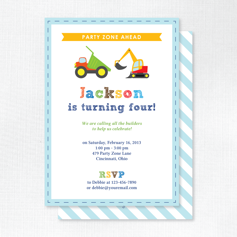 Construction Builder - Kids Birthday Party Invitations | Tickled ...