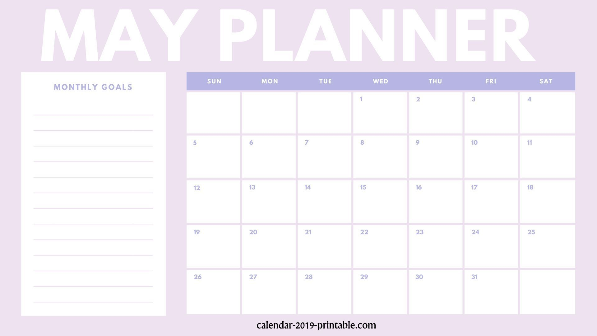 Free 2019 Planners From January To December December Calendar