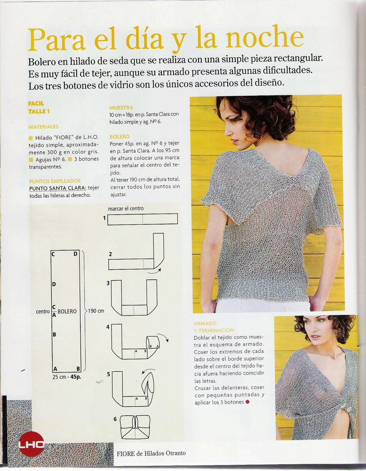 Bolero Cruzado con una pieza rectangular - Patrones Crochet | Ideas ...