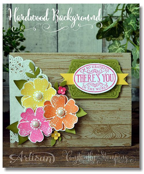 Wednesday WOW - Hardwood Card plus Bonus Project 2014  Just stamp the Hardwood background stamp with Crumb Cake ink on a Crumb Cake card base. The sentiment uses the Chalk Talk stamp set and the flowers are from the Flower Shop set. The basic color combo was Pumpkin Pie, Melon Mambo, Daffodil Delight, and Old Olive.2014  Just stamp the Hardwood back...