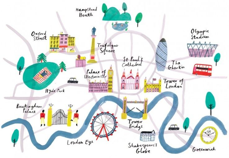 London Landmarks Map.London Landmark Map By Charlotte Trounce Goofy City Maps Londo