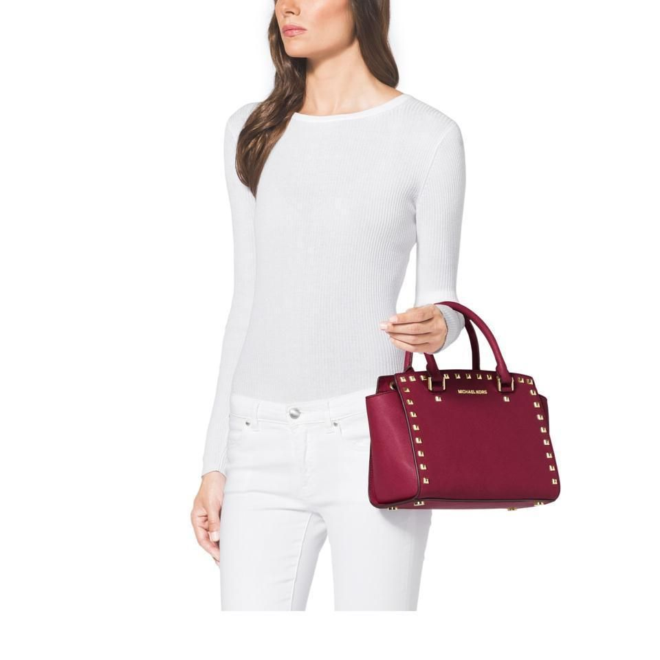 a138efceeb6efb MICHAEL KORS | Selma Medium Studded | Cherry Red | Saffiano Leather Satchel  | white on white | womens outfit ideas | the yuppie closet | eBay |  boutique ...