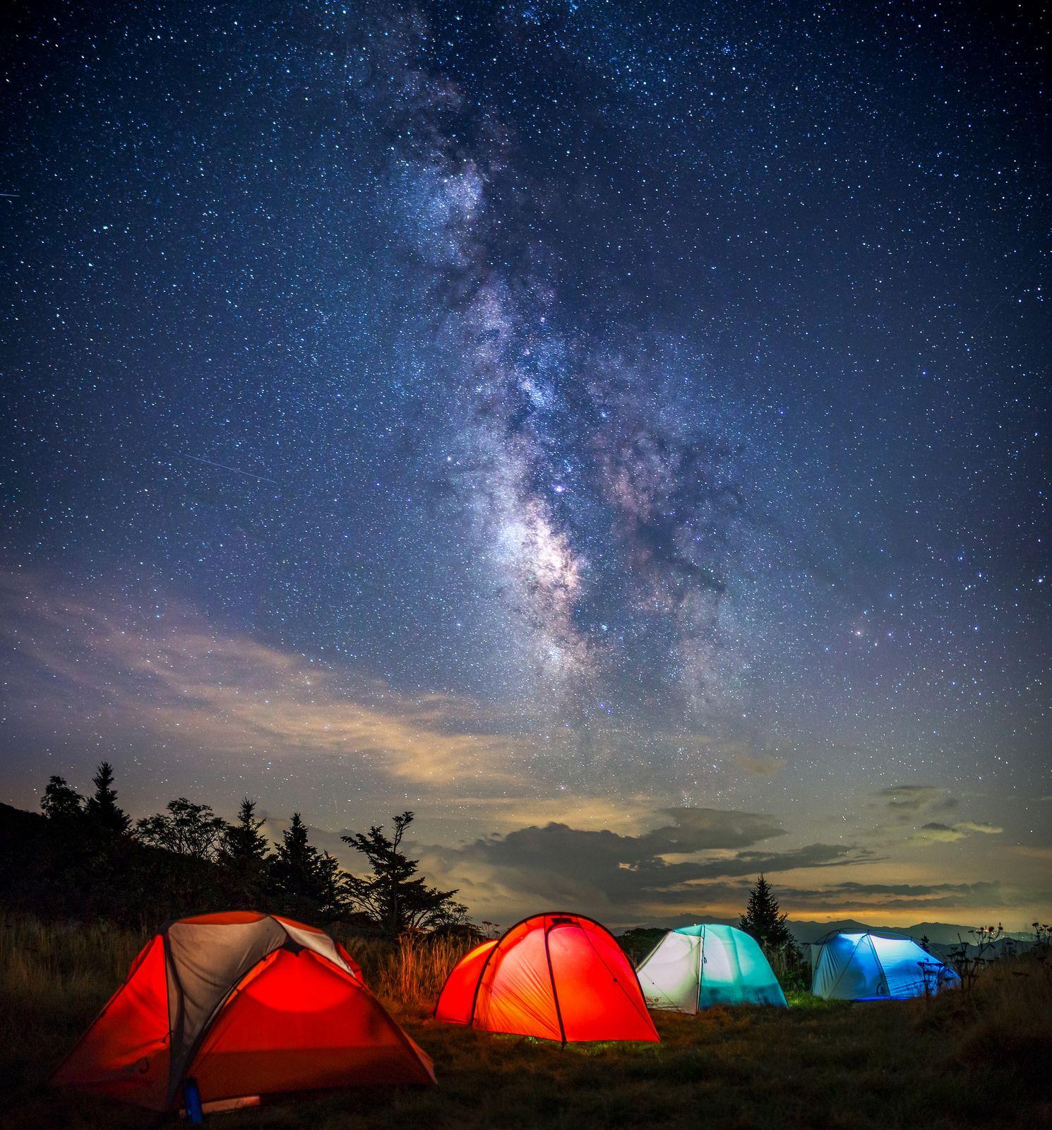 By Jason Frye. & Milky way lighting the night.... North Carolina - Grassy Ridge ...