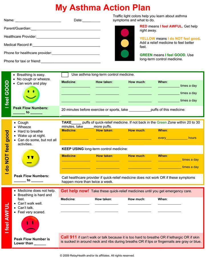 Asthma action plan School Nursing Pinterest Asthma, Lungs - asthma action plan