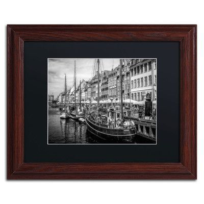 "Trademark Art 'Nyhavn Harbor' by Erik Brede Framed Photographic Print Size: 11"" H x 14"" W, Matte Color: Black"