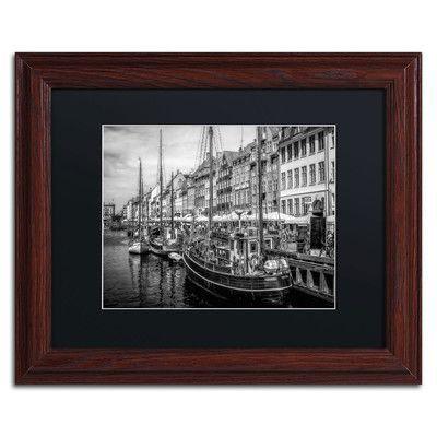 """Trademark Art 'Nyhavn Harbor' by Erik Brede Framed Photographic Print Size: 11"""" H x 14"""" W, Matte Color: Black"""