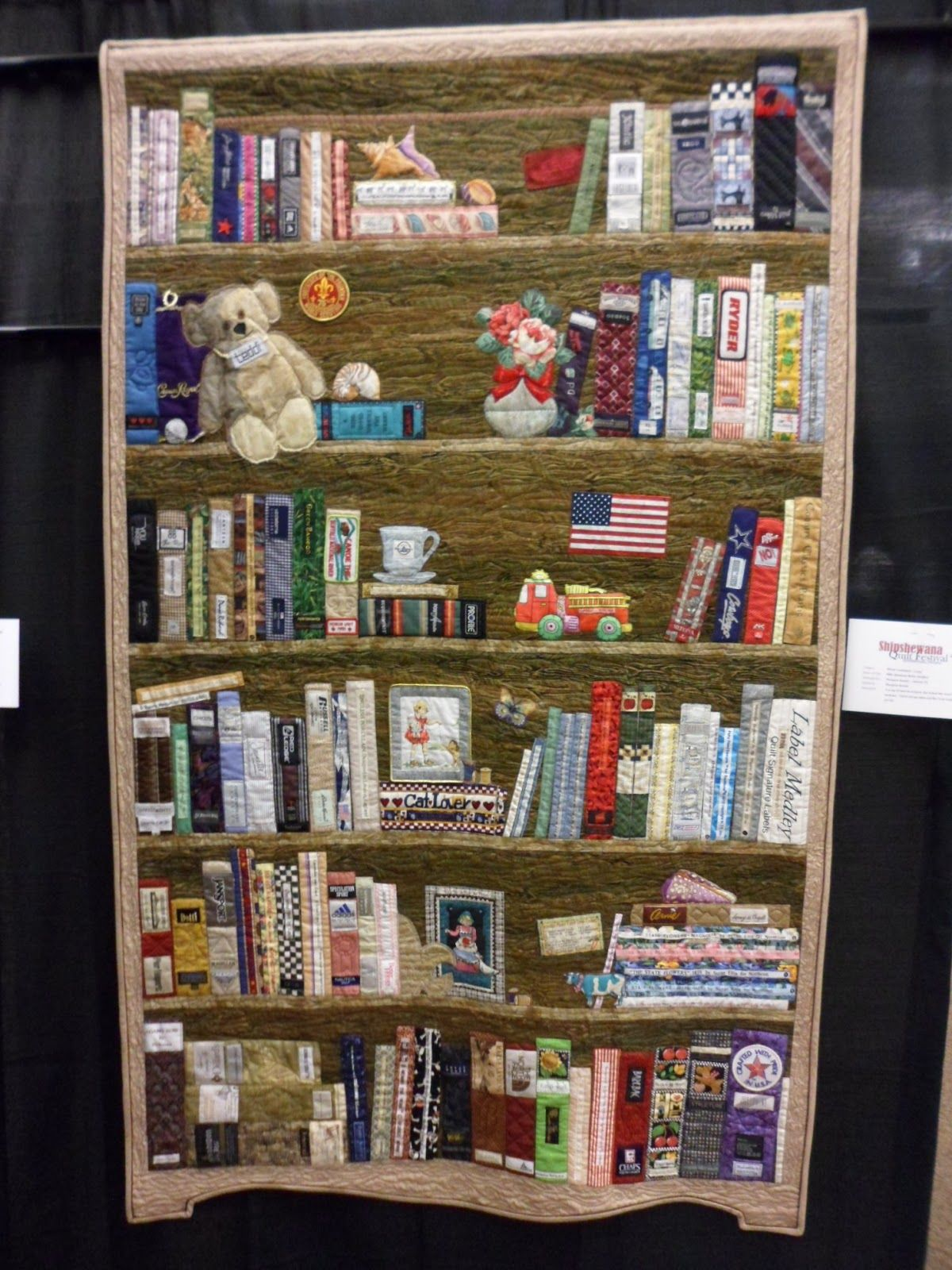 Elaborate Bookshelf Quilt From The Northern Deb Quilts Blog
