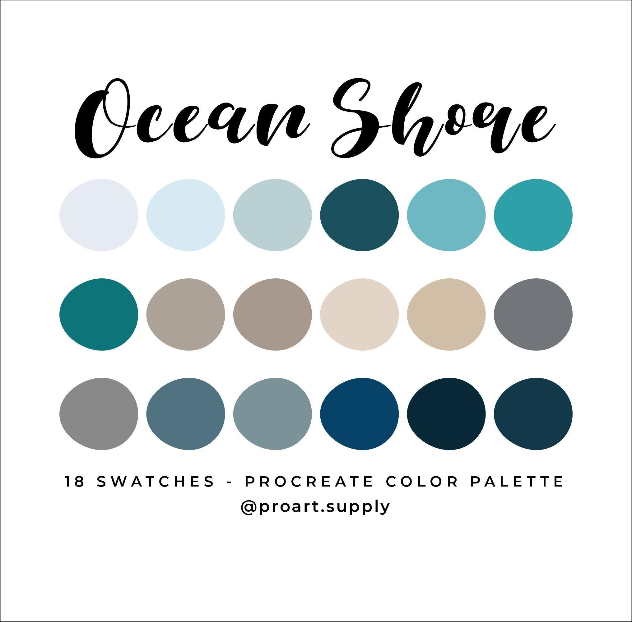 OCEAN SHORE PROCREATE Color Palette – Blue, Gray, Tan for iPad – Digital Illustration Swatches