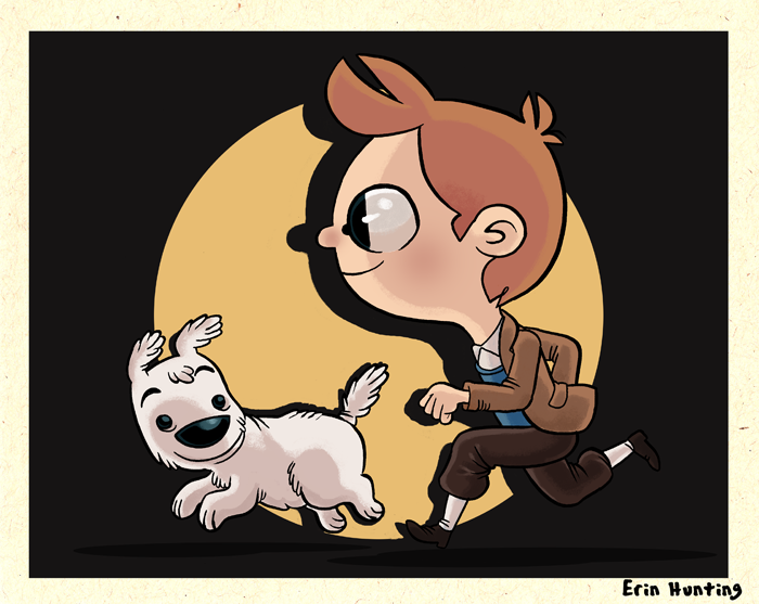Erin Hunting Illustration: Tintin and Snowy