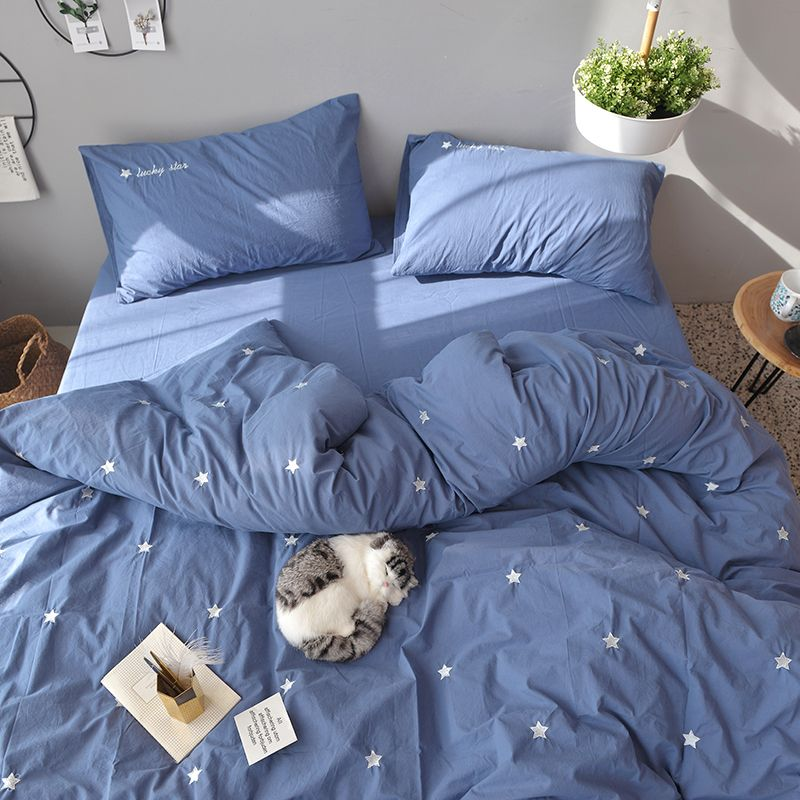 Bed Linen Embroidery Star Bedding Cute Duvet Cover Flat Sheet With Ruffles  4pcs Bedding Set Duvet Cover Bed Sheet Pillow Cases #DuvetCover  ##Home Decor ...