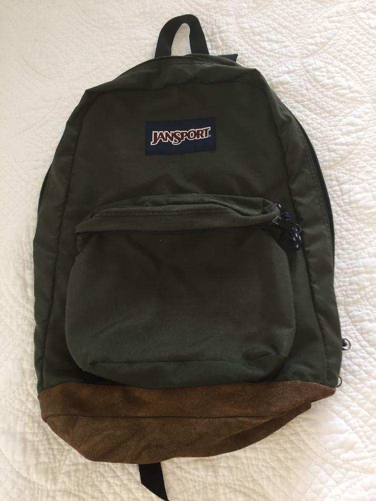 54549cf82 JanSport Vintage Leather Bottom Backpack Book Bag Hunter Forest Green USA  Made #JanSport #Backpack