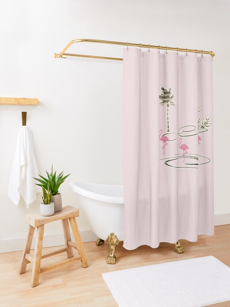 Tropical Oasis Pink Flamingo Shower Curtain By Technotext