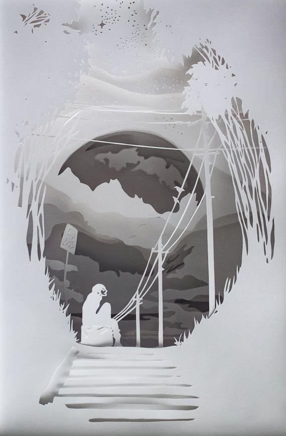 Caja de sombra papel hecho a mano; diorama de papel en un marco ...