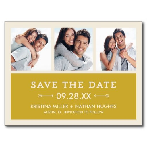 Gold Modern Photo Collage Save the Date Postcards