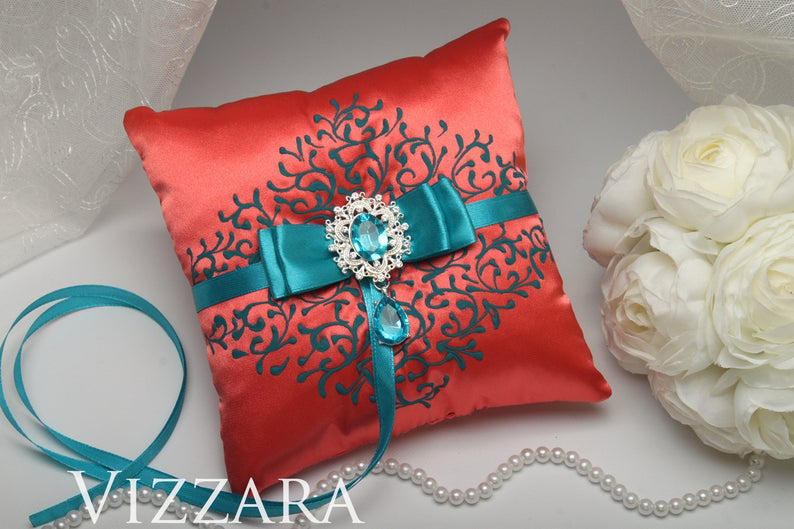 Ring bearers pillows Coral wedding Ring bearer pillow ideas Coral and teal wedding Handmade ring bearer pillow Coral wedding colors