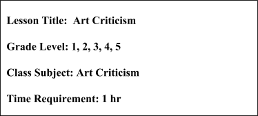 Art Criticism Lesson Plan
