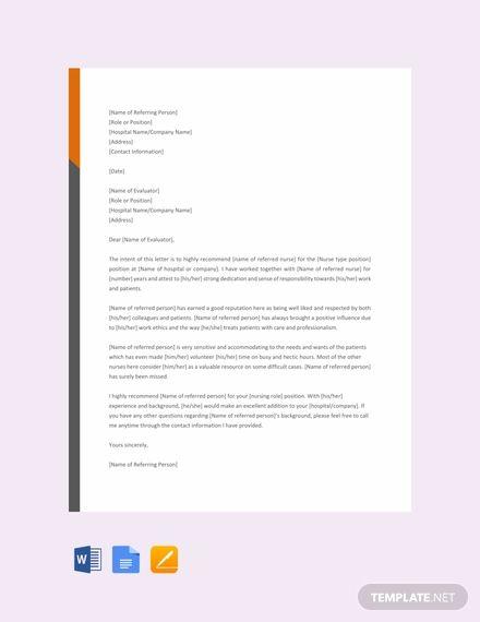 Free Nursing Reference Letter future Pinterest Reference